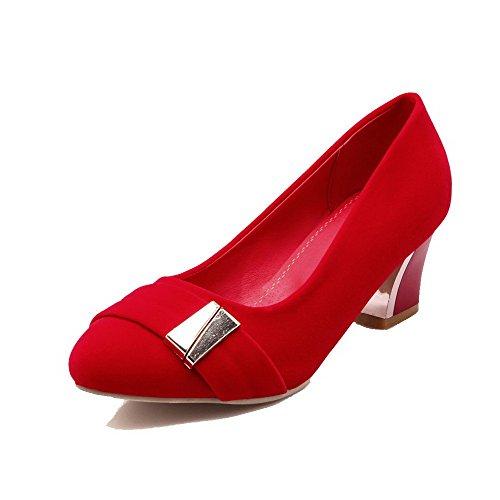 Suédé Rouge Chaussures Rond Femme à Tire Légeres VogueZone009 Unie Correct Couleur Talon FRtwqP