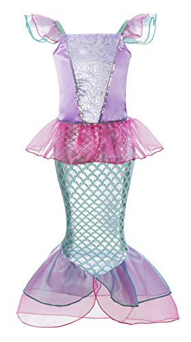 Padete Little Girl Mermaid Princess Costume Sequins Party Dress (3-4 Years, Pink)]()