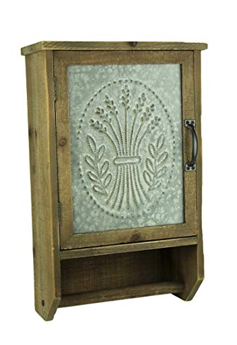 Audrey's Punched Tin and Wood Hanging Storage Cabinet with Towel Bar