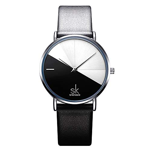 SHENGKE Creative Simplicity Women Watch Genuine Leather Elegant Women Watches Ladies Business Wristwatch (K0095-Black&White)