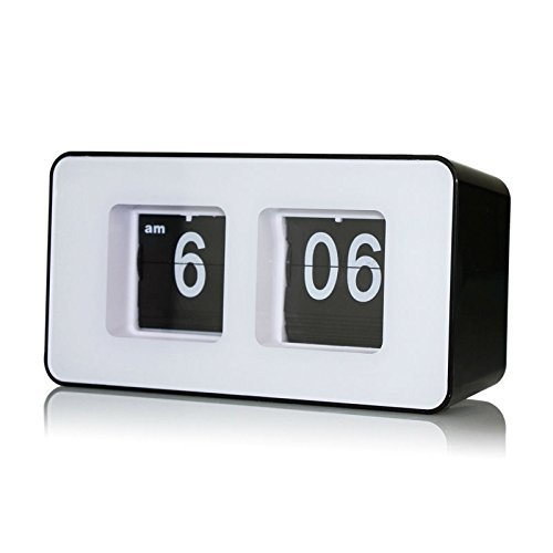 Lcyyo@ Creative Cube Digital Retro Auto Flip Clock File Down Page Clocks Desk Wall Clock AM/ PM Format Display Timepiece for Home, Office (Black)