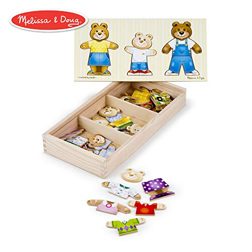 "Melissa & Doug Bear Family Dress-Up Puzzle (Preschool, Mix-and-Match Outfits, Durable Wooden Construction, Sturdy Storage Box, 45 Pieces, 12.5"" H x 6.2"" W x 2"" L) from Melissa & Doug"