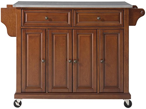 Crosley Furniture Rolling Kitchen Island with Stainless Steel Top - Classic Cherry