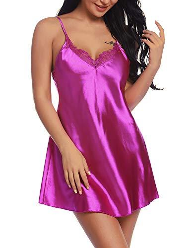 - RSLOVE Women V Neck Lingerie Lace Satin Chemise Full Slip Nightgown Sleepwear Purple XXL