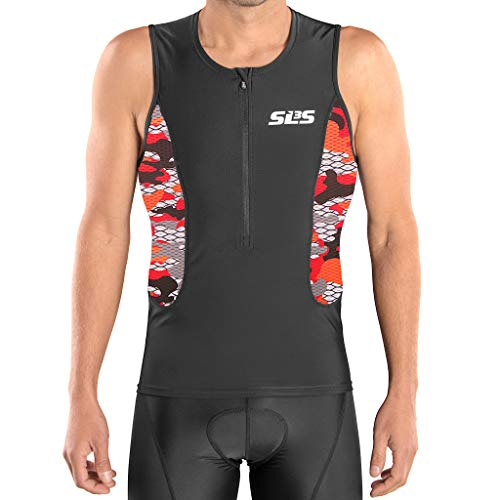 (SLS3 Triathlon Men`s Tri Top FRT | Tight Fit | 2 Pockets | Zipper | Jersey | Singlet | German Designed (Black/Red Camo, M))