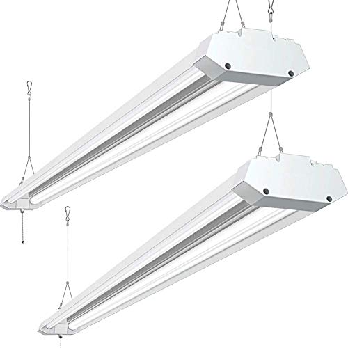 8FT LED Shop Light Fixture 72W, 8000 Lumen, 5000K Daylight, Bbounder 8 Foot Ceiling Lights Fixtures for Garage Plugin with Power Cord and Pull Chain 2 Pack