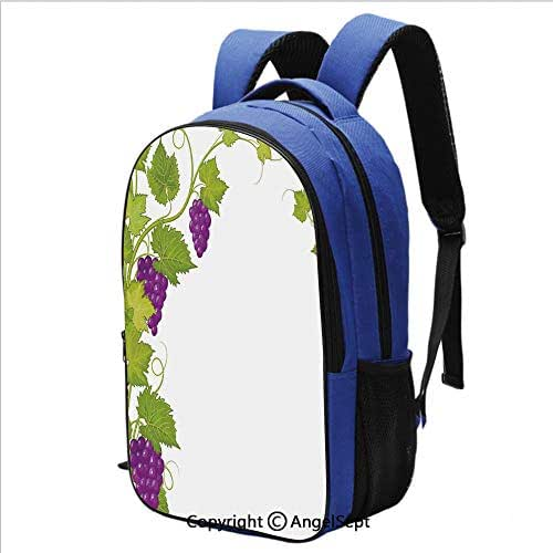 School Backpack for Women Men Latin Brochure Label Italian Town Province Vintage Menu Sign Artwork Printed Children School Backpack Cool Bookbag,Violet Green