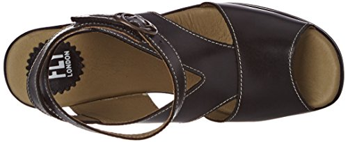 Fly London Women's Hibo869fly Wedge Sandals Black (Black 000) S4UEzfT