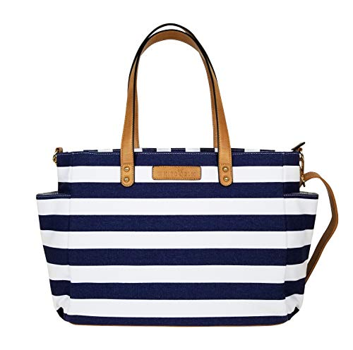(Striped Tote Bag by White Elm | The Aquila (New Edition)| Canvas & Vegan Leather | Navy Blue)