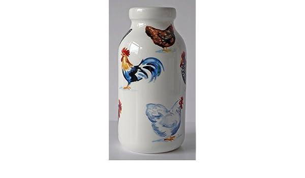 Pollo Hut botella de leche de cerámica decorada todos los redondo con colorido pollos, las gallinas Cockerels Roosters: Amazon.es: Hogar