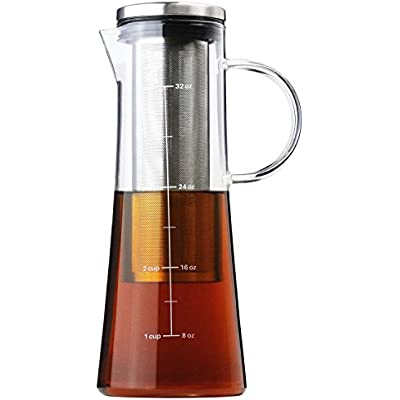 Click for COLD BREW COFFEE MAKER - Iced Coffee Maker & Tea Infuser with Pouring Spout, Glass Pitcher with Removable Stainless Steel Filter, 1 Quart | 32 oz