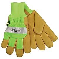 Kinco 1939KW HI-VIS Green Lined Grain Pigskin Leather Palm Work Glove, Knit Wrist