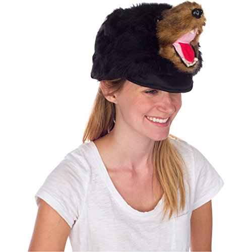Rittle Furry Black Bear Animal Hat, Realistic Plush Costume Headwear, 1 Size (Hat Bear)