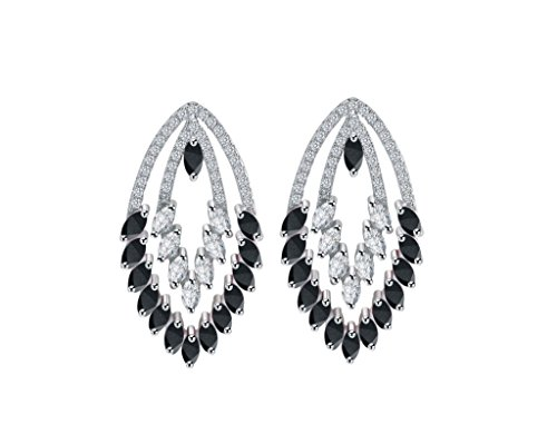 AA Grade CZ Bridal/Wedding Earrings Swarovski Crystals Platinum-Plated Silver Cubic Zirconia Circle Chandelier Teardrop (Swarovski Clear Crystal Chandelier Earrings)