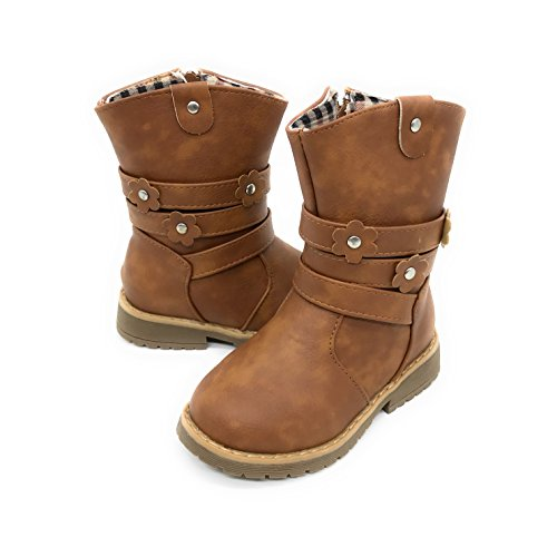 Blue Berry EASY21 Girls Fashion Cute Toddler/Infant Winter Snow Boots (4 M US Toddler, Tan29)