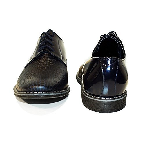 Modello Boqe - Cuero Italiano Hecho A Mano Hombre Piel Azul marino Zapatos Vestir Oxfords - Cuero Cuero repujado - Encaje