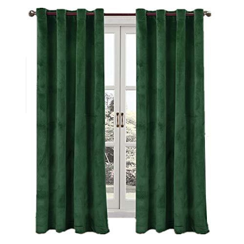 Green Window Curtain - Comforhome Solid Soft Velvet Window Curtain Grommets Drapes Dark Green 52