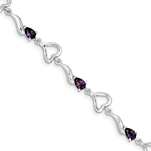 (Solid 925 Sterling Silver & Violet Purple February Simulated Birthstone Simulated Amethyst Polished Fancy Link Love Heart Tennis Bracelet - with Secure Lobster Lock Clasp 7.75