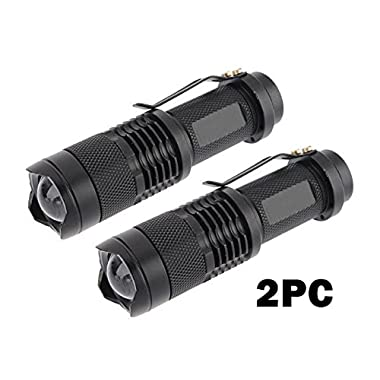 2PCS WAYLLSHINE(TM) BLACK 3Mode 7W 300LM Mini CREE X-PE LED Flashlight Torch Adjustable Focus Zoom Light Lamp for Riding, Camping, Hiking, Hunting & Indoor Activities