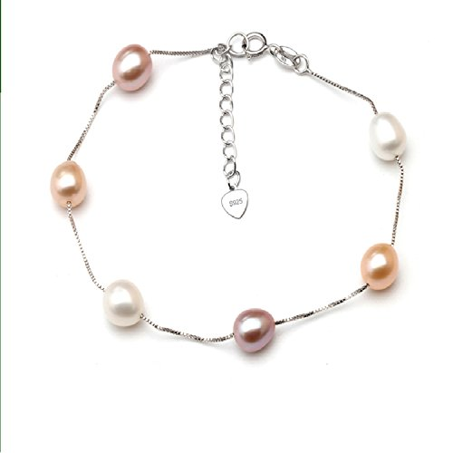 Aworth Real Natural Pearl Bracelet For Women,Freshwater Pearl Chain Link Bracelet Jewelry Wedding 925 Silver Charms Bracelet Gift pink color (Pearl Real Necklace Bracelet Pink)