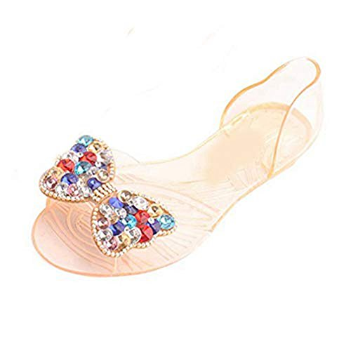 Women's Clear Jelly Butterfly Sparkle Glitter Bling Sandals Flat Sandals Bowknot Transparent Slippers Orange from T-JULY