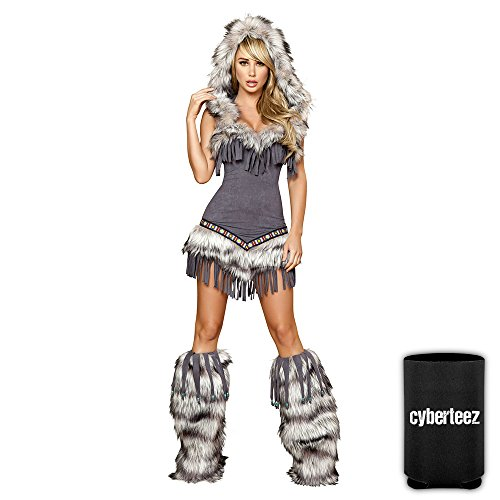 Temptress Indian Costumes (Sexy Eskimo Indian Women's 1pc Native American Temptress Costume + Coolie (M))
