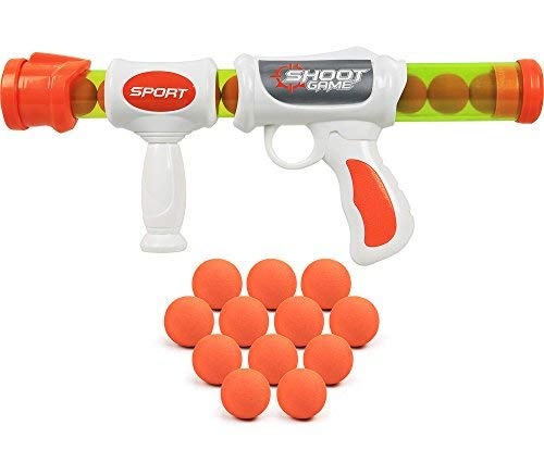 Click N' Play Kids Air Powered Foam Ball Shooting Toy Gun, Action Pack for Indoor and Outdoor Use-12 Safe Foam Balls.