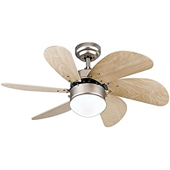 Westinghouse 7814420 Turbo Swirl Single-Light 30-Inch Six-Blade Indoor Ceiling Fan, Brushed Aluminum with Opal Frosted Glass