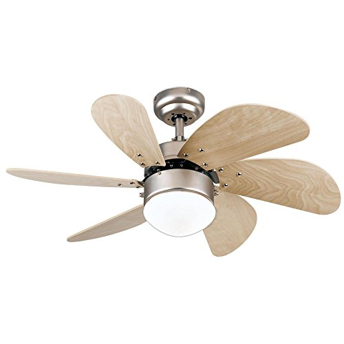 Westinghouse Lighting 7814420 Turbo Swirl Single-Light 30-Inch Six-Blade Indoor Ceiling Fan, Brushed Aluminum with Opal Frosted Glass