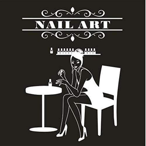 LSFHB Nail Salon Wall Sticker Nail Bar Gril Beauty Salon Wall Art Sticker Sign Personalised Manicure Nail Shop Window Glass Decor 56x70cm