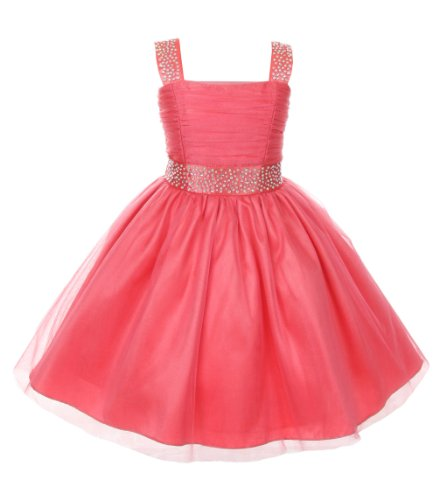 Cinderella Couture Big Girls' Sparkling Rhinestone Party Dress 8 Coral 1195
