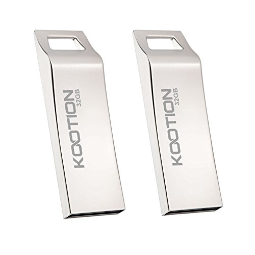 KOOTION 32GB 2PCS USB2.0 Flash Drives Waterproof Metal Ergonomic Design Memory Stick Thumb Drives, Silver