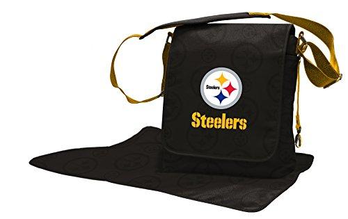 NFL Pittsburgh Steelers Messenger Diaper Bag, 13.25 x 12.25 x 5.75-Inch, Black from SteelerMania