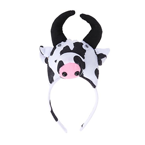 BESTOYARD Cute Cartoon Stereoscopic Animal Headdband Children Kindergarten Party Costume Gift for Birthday Children's Day Halloween Cosplay Show Children's Day(Cow) ()
