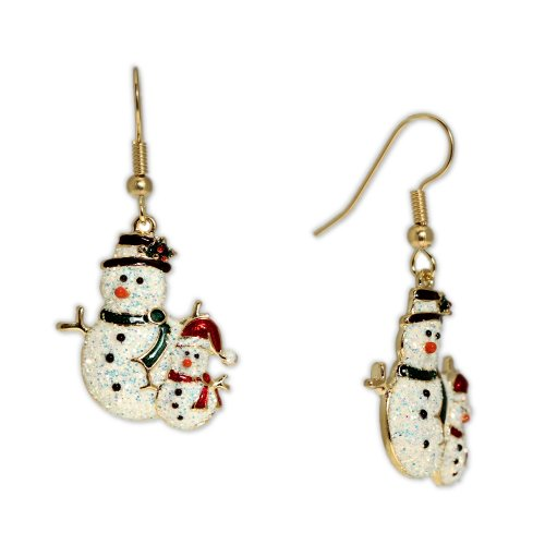 Sparkly Snowman and Snowchild Earrings in Gold Tone