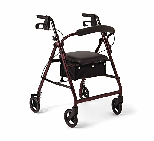 Medline Aluminum Rollator Walker with Seat, Folding Mobility Rolling Walker has 6 inch Wheels, Burgundy