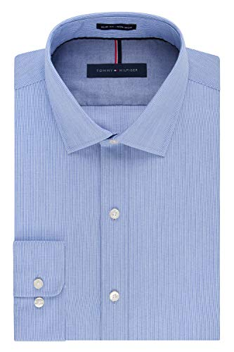 - Tommy Hilfiger Men's Non Iron Slim Fit Stripe Spread Collar Dress Shirt, Mist, 16.5