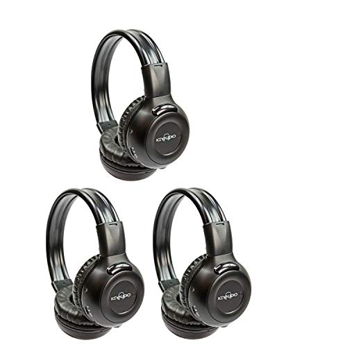 Key 3 Wireless Channel (Three Pack of Two Channel Folding Adjustable Universal Rear Entertainment System Infrared Headphones With Three Additional 48