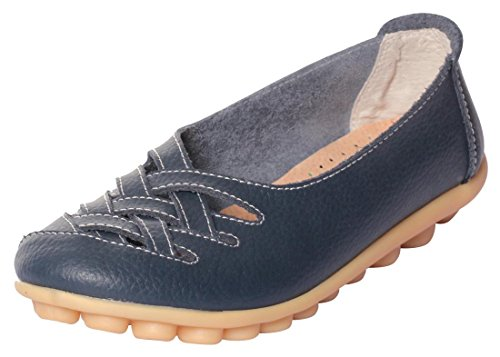 UJoowalk Women's Leather Cowhide Flat Casual Slip on Driving Loafer Shoes (9.5 B(M) US, Dark Blue) (Shoes For Women Online)