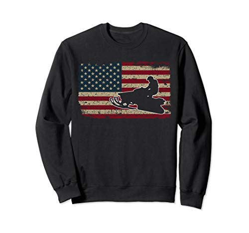 Snowmobile American Flag Sweat Shirt I Proud Sled Rider Gift
