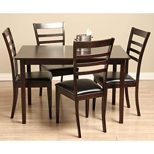 Warehouse of Tiffany 5-Pcs Wood and Leather Dining Set 1429131+8542218 G
