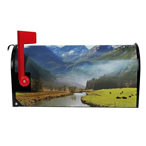 SANCR Snow Mountain Grassland Creek Magnetic Mailbox Cover,Double-Sided Printing,Vinyl,Size 18
