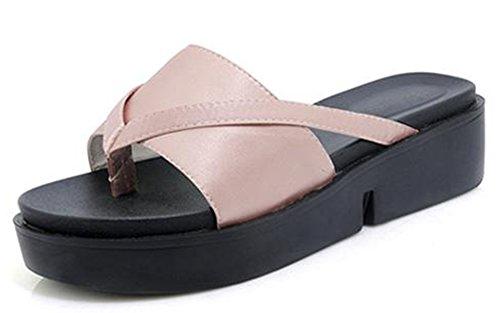Easemax Womens Comfy Mid Wedge Heels Platform Thong Flip Flops Pink