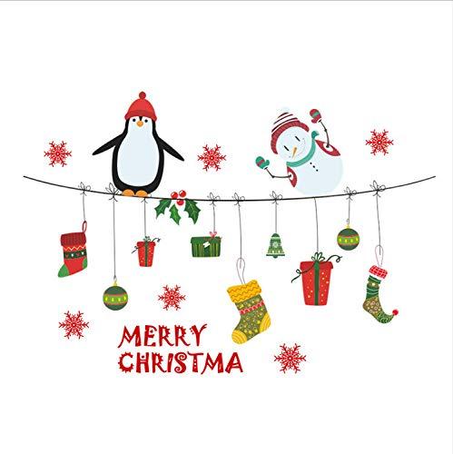 XQWZM Feliz Navidad Pingüino Muñeco De Nieve Etiqueta De La Pared ...