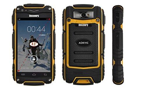 Aokvic ® V8 Staubdicht Stoßfest Smartphone Robuste Entriegelt Smartphone 4.0 Zoll IPS kapazitive Touch Screen Android 4.4 512G RAM / 4G ROM 2G/3G GSM WCDMA Entsperrt Handy (Gelb)
