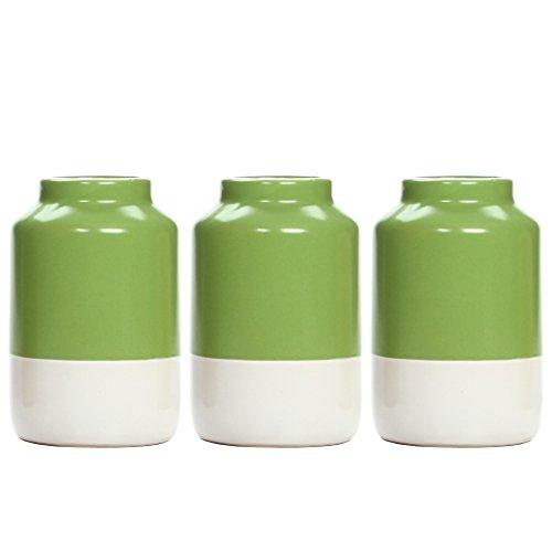Hosley's Set of 3 Green and White Ceramic Vases - 5