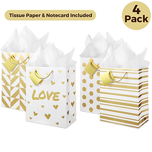 Medium Metallic Gold Gift Bags (Set of 4, Assorted Designs) Tissue Paper Included! Rope Handles, Removable Card, Cute Present Bag for Welcome Gift, Wedding, Anniversary, Birthday, Christmas, Holiday -