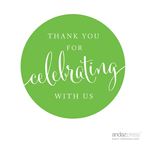Andaz Press Circle Gift Label Stickers, Thank You For Celebrating With Us, Kiwi Green, 40-Pack, Round Thanks Label For Baby Bridal Wedding Shower, Anniversary Celebration, Graduation, Outdoor Event, Picnic, Luau, (Hanukkah Treat Bags)