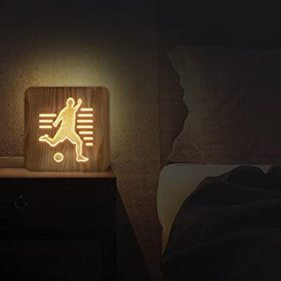 FULLOSUN 3D Shadow Wooden Night Lamp Squirrel Bedside Desk Stand Light for Relaxing Atmosphere