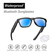 Waterproof Audio Sunglasses, Outdoor Sported Over Ear Bluetooth Headset with Built-in Microphone, Mirror Blue Polarized UV400 Protection Safety Lenses Compatible for All Editions of Smart Phone